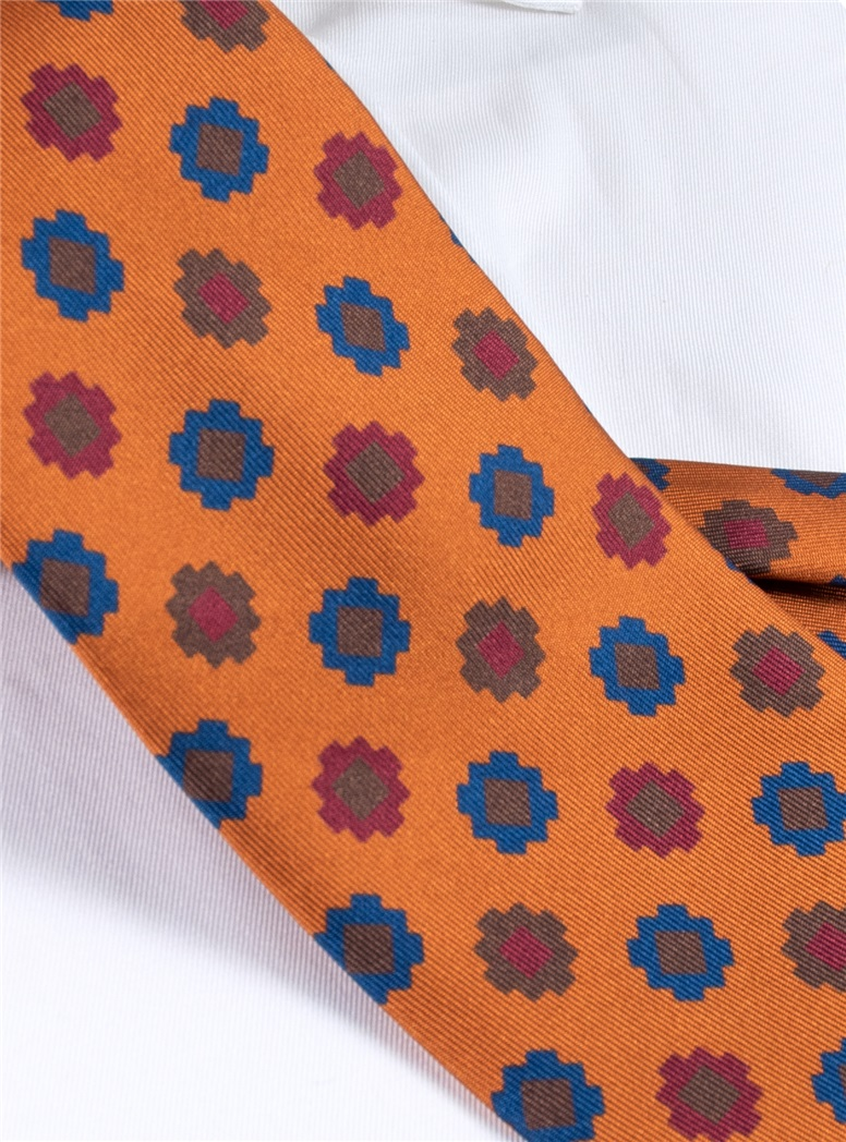 Silk Geometric Motif Tie in Copper