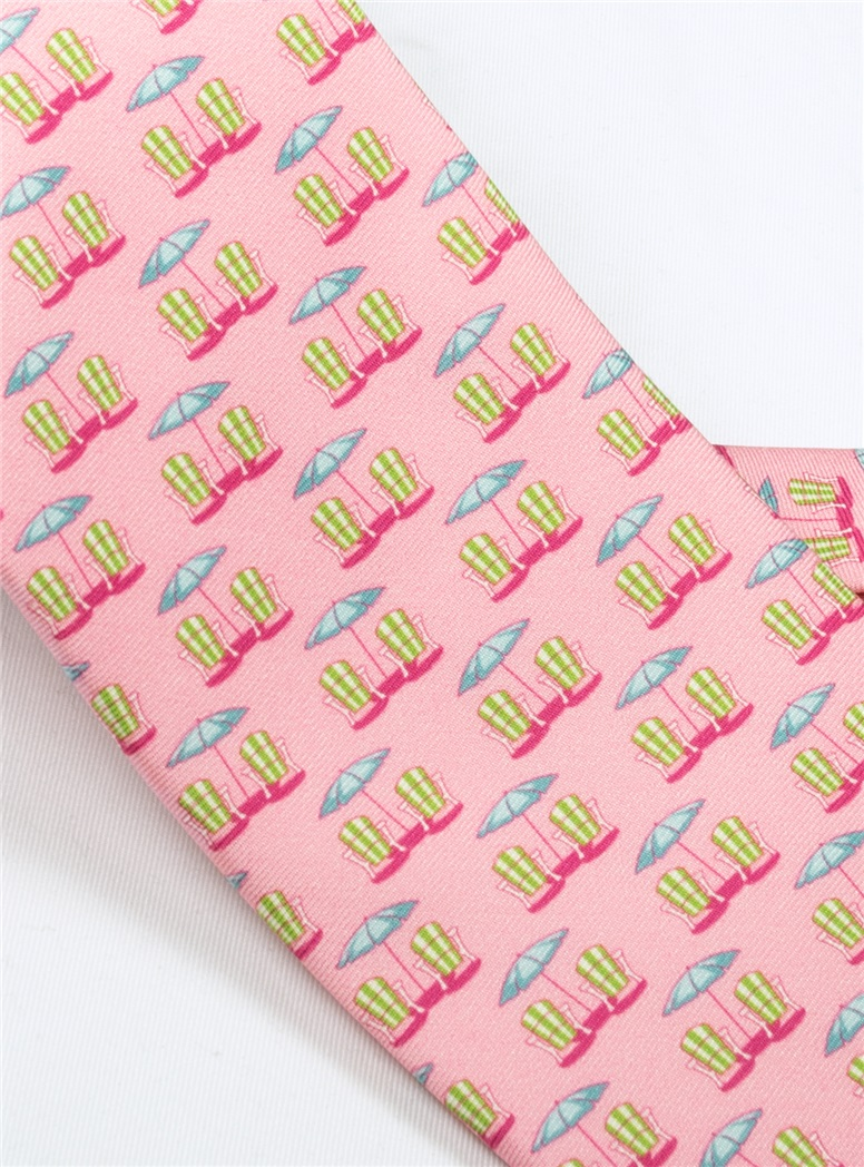 Beach Chair and Umbrella Printed Tie in Rose