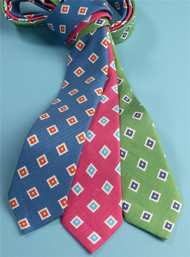 Silk and Linen Diamond Motif Tie in Fern