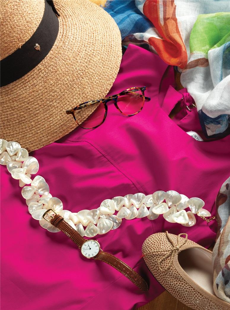 Ladies Cotton Shift Dress in Fuchsia