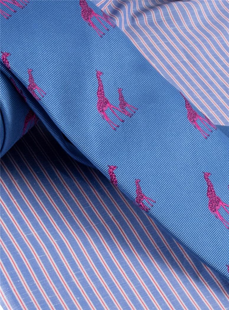 Silk Woven Giraffe Motif Tie in Cornflower