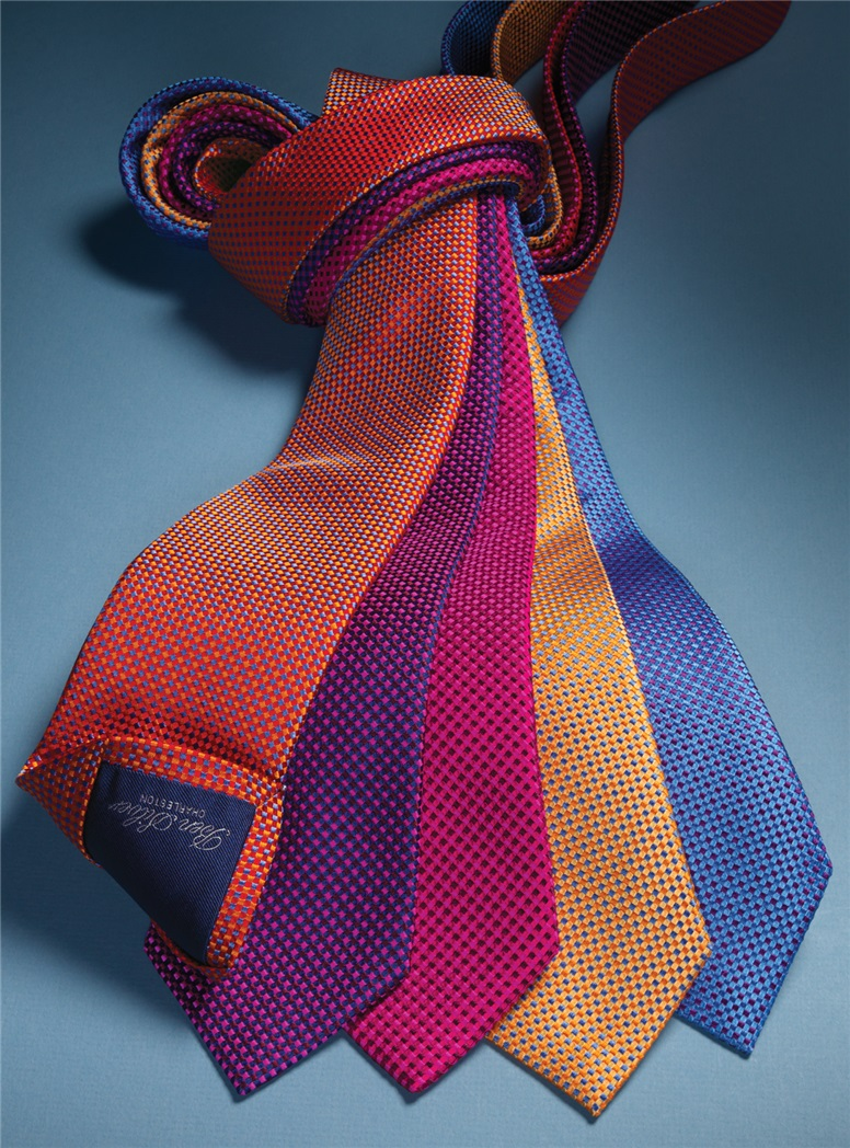 Basketweave Tie in Gold & Blue