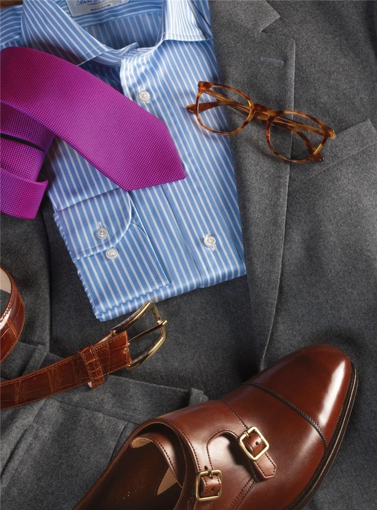 Super 120's Grey Mélange Flannel Suit
