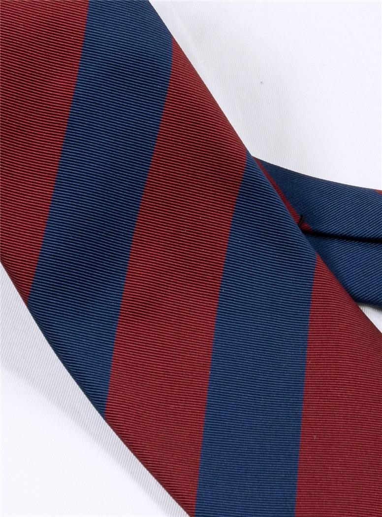 Mogador Block Striped Tie in Wine and Navy