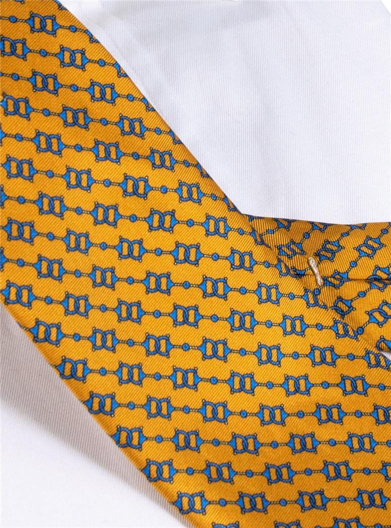 Silk Horse Bit Motif Tie in Marigold