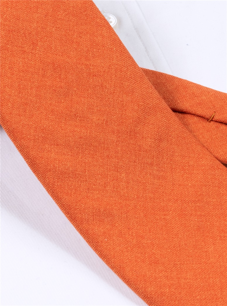 Silk and Cashmere Solid Tie in Tangerine