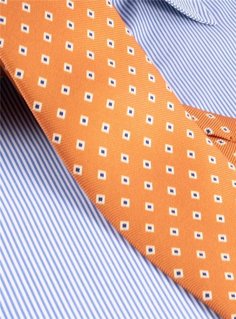 Diamond Printed Silk Tie in Oak