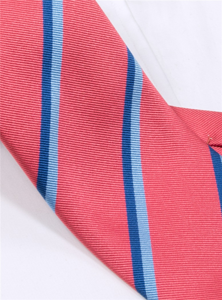 Silk Double Stripe Tie in Strawberry