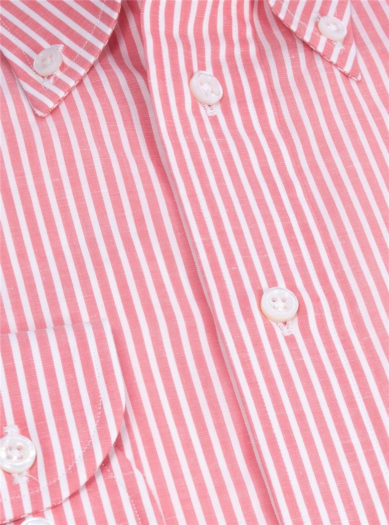 Cotton/Linen Coral and White Stripe Buttondown