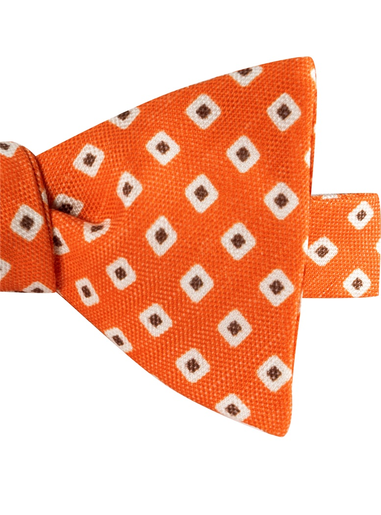 Silk and Linen Square Motif Printed Bow Tie in Tangerine