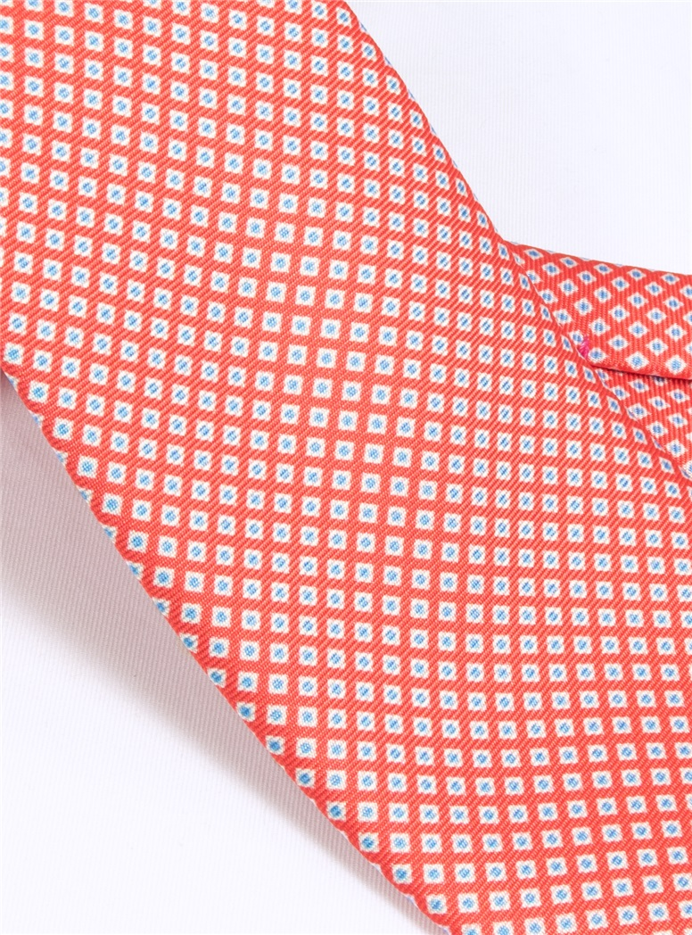 Silk Printed Dots Tie in Coral