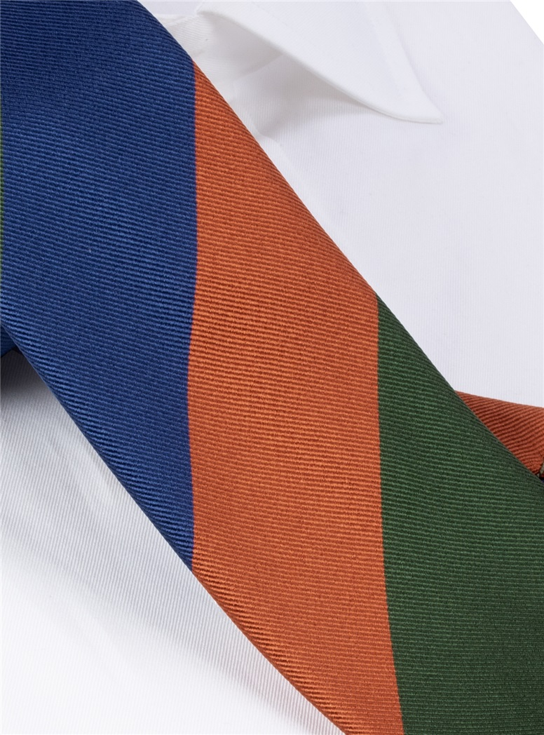 Silk Block Striped Tie in Marine, Spice and Field