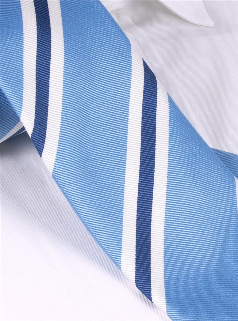 Silk Striped Tie in Cornflower