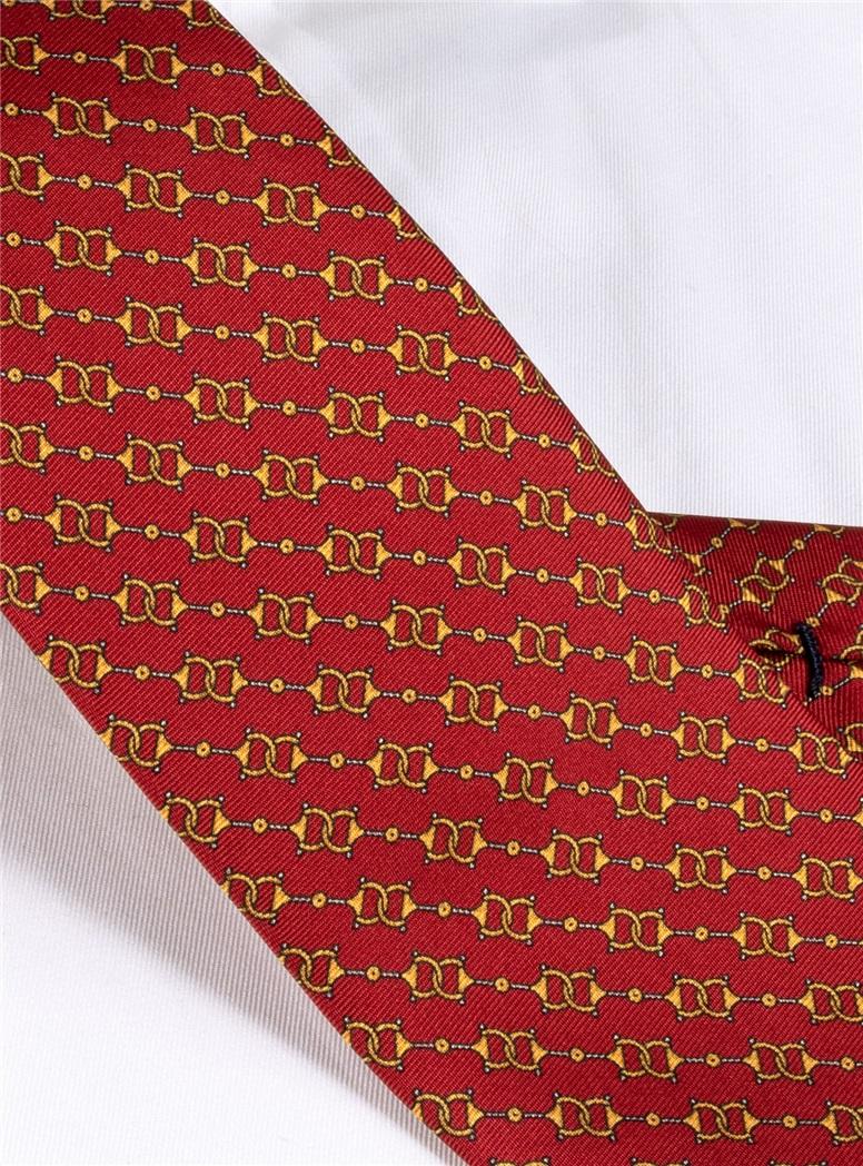 Silk Horse Bit Motif Tie in Ruby