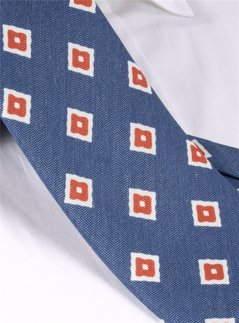 Silk and Linen Diamond Motif Tie in Navy