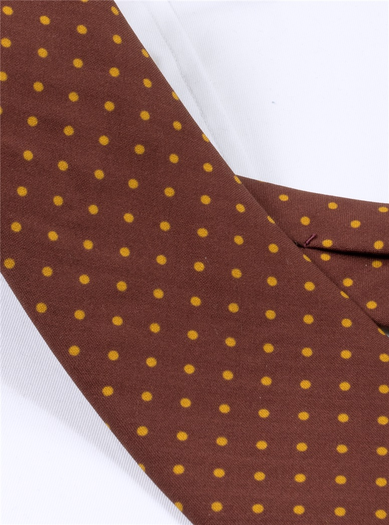 Wool Printed Dots Tie in Wine with Amber