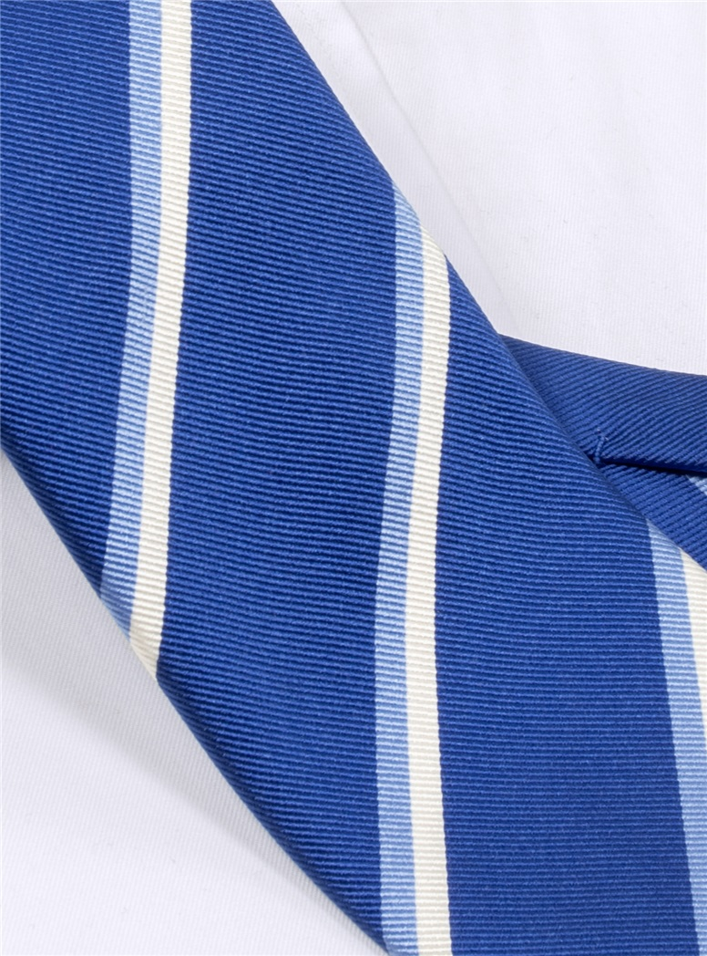 Silk Double Stripe Tie in Navy
