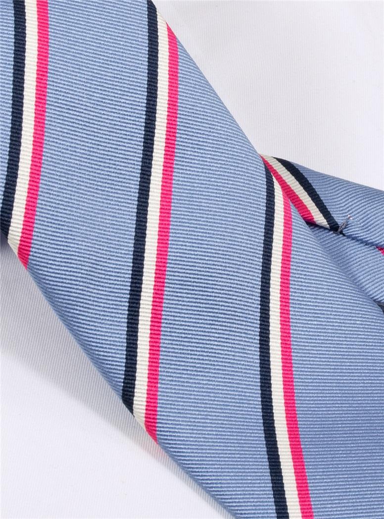 Silk Triple Stripe Tie in Sky