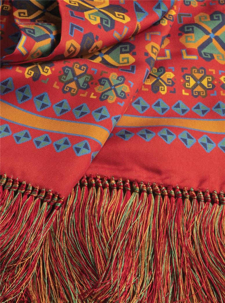 Silk Aztec Printed Scarf