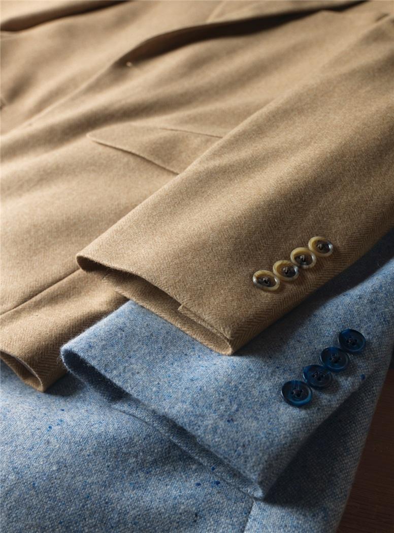 Tan Herringbone Cashmere Sport Coat