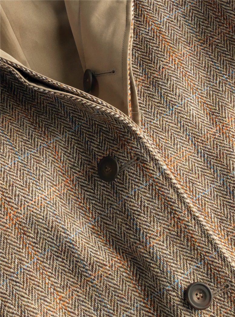 Reversible Herringbone Overcoat and Tan Raincoat