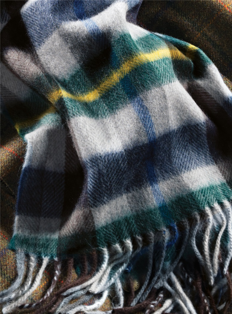 Wool and Alpaca Plaid Scarf in Green, Navy and Yellow
