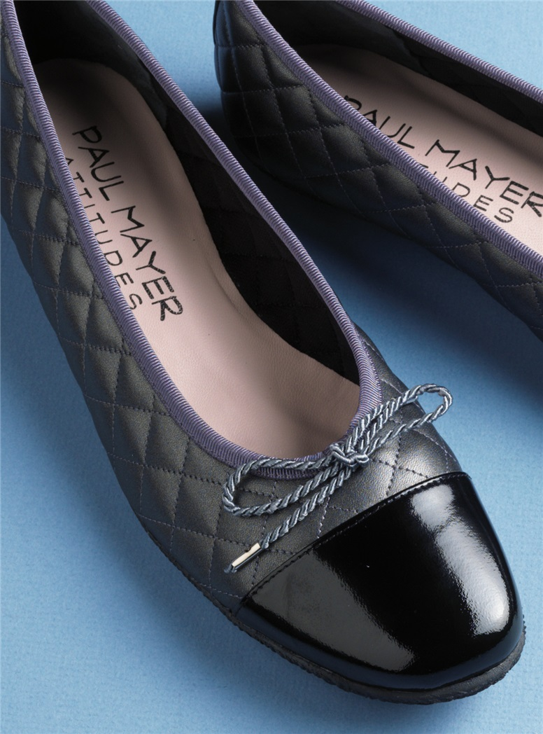 Quilted Flats in Pewter with Black Patent Toe