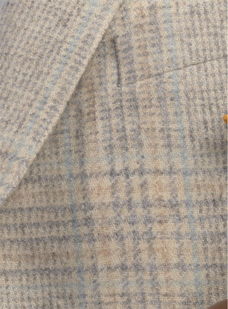 Cream Camelhair Sport Coat with Slate & Teal Windowpane