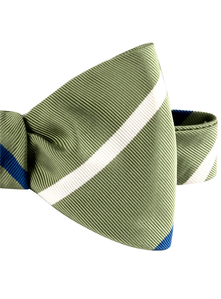 Mogador Double Striped Bow Tie in Olive