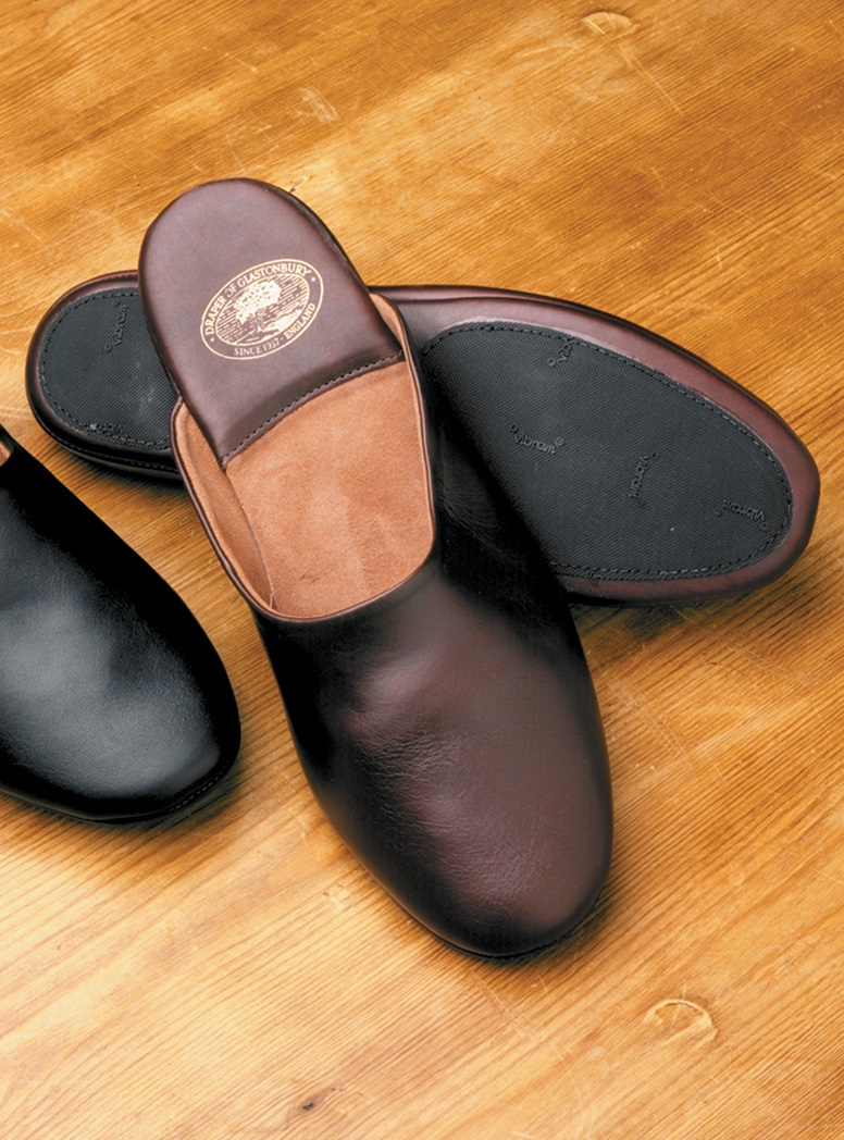 The Edward Backless Calf Skin Slippers with Non-Slip Soles
