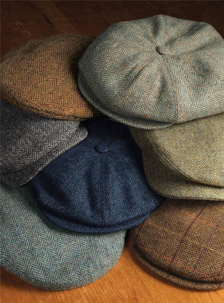 Wool Garforth Cap in Brown and Cream Herringbone