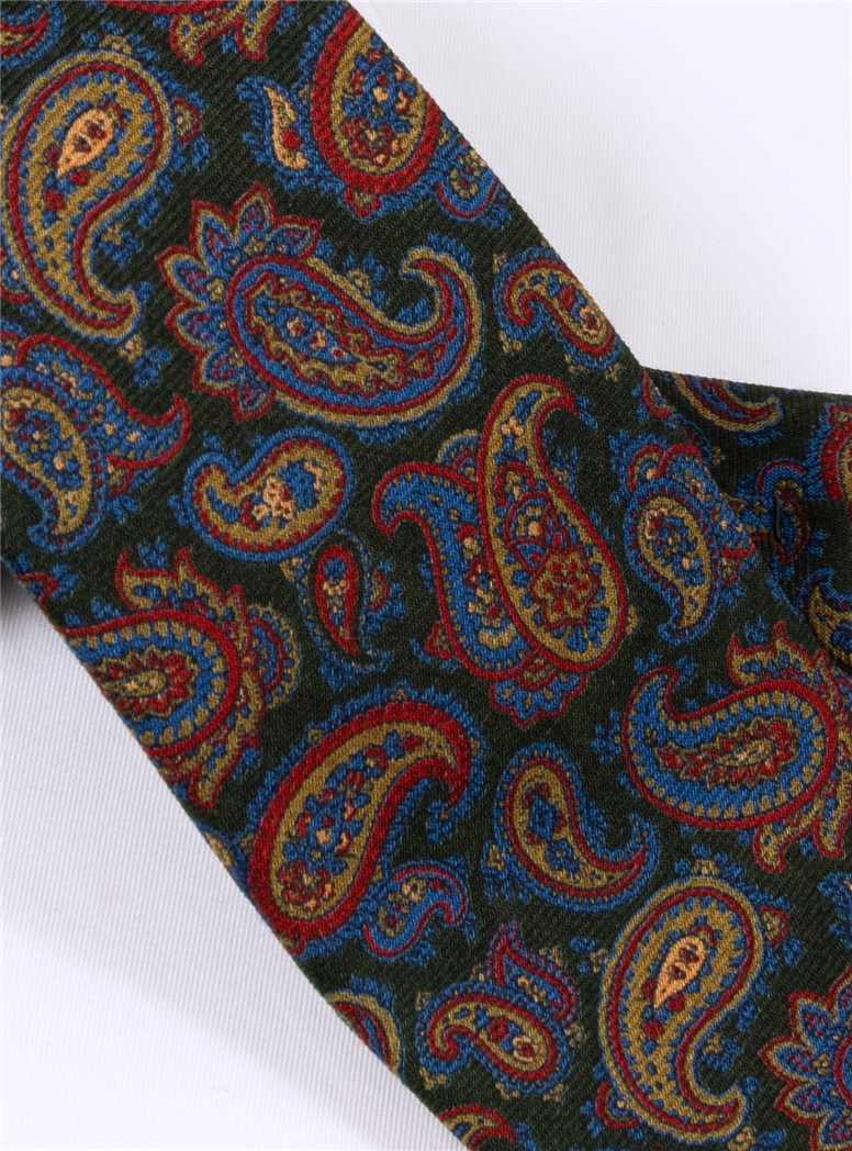 Wool Paisley Printed Tie in Forest