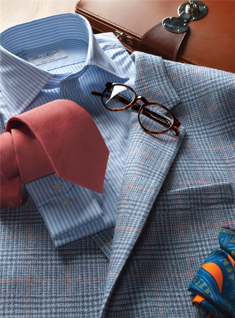 Sky and Cobalt Plaid Lambswool Sport Coat with Coral Windowpane