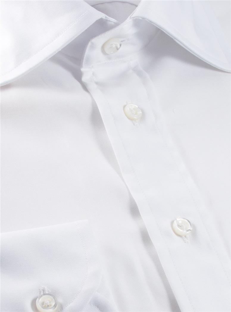 White Twill Spread Collar Travel Shirt