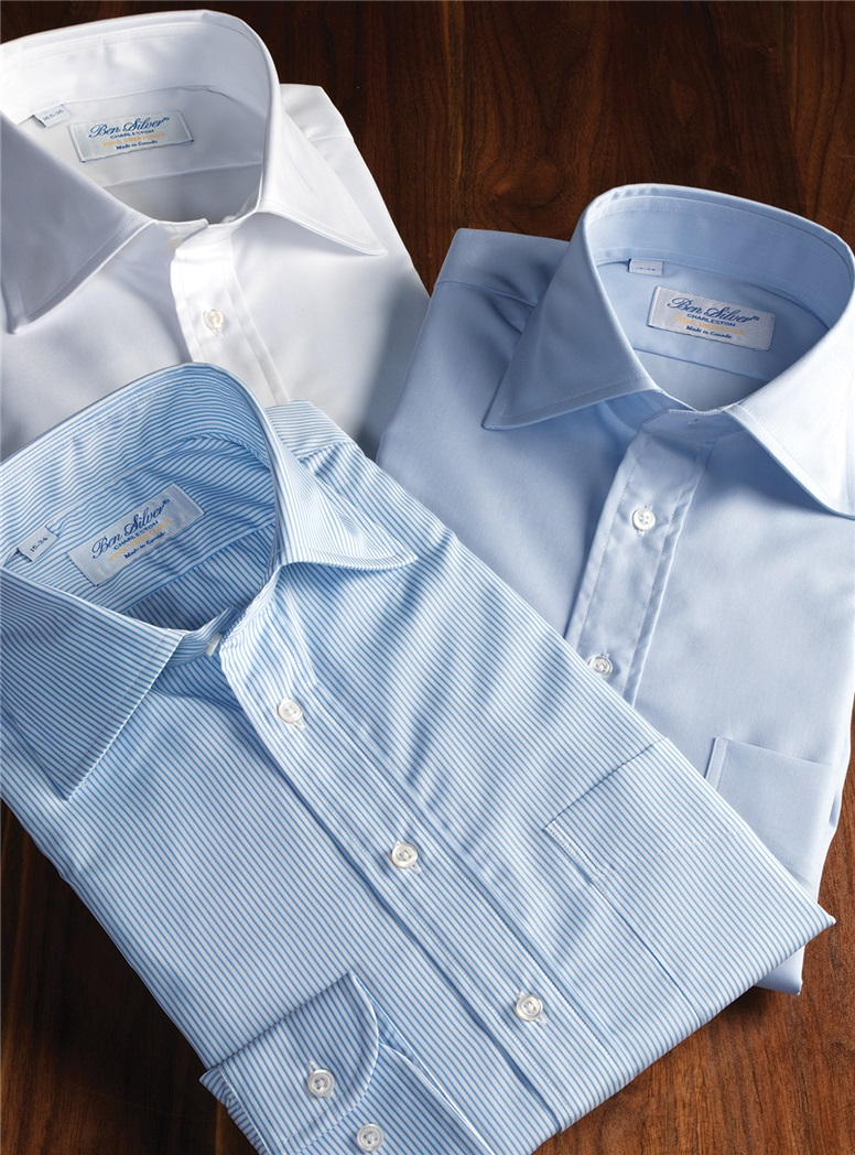 Sky Blue & White Stripe Spread Collar Travel Shirt