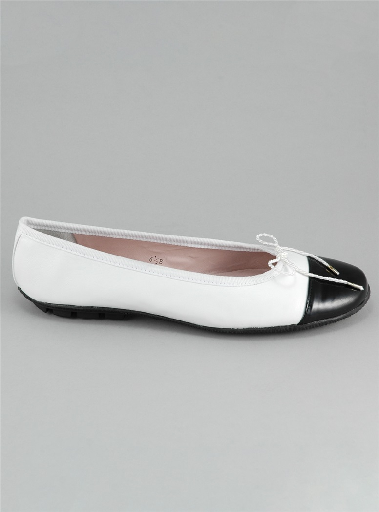 Contrast Toe White and Black Flats
