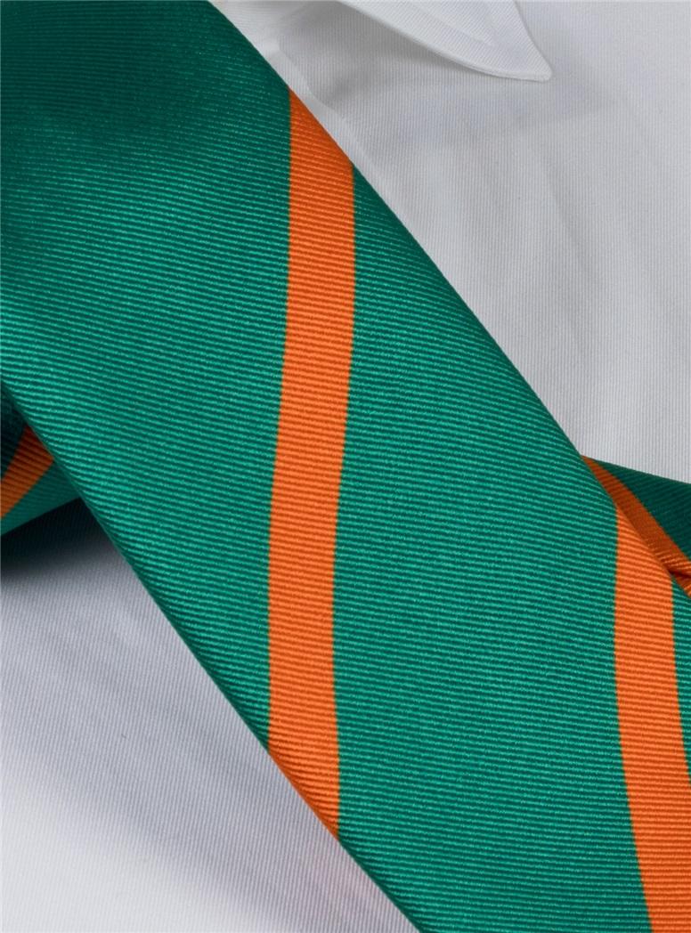 Silk Bar Stripe Tie in Teal with Tangerine