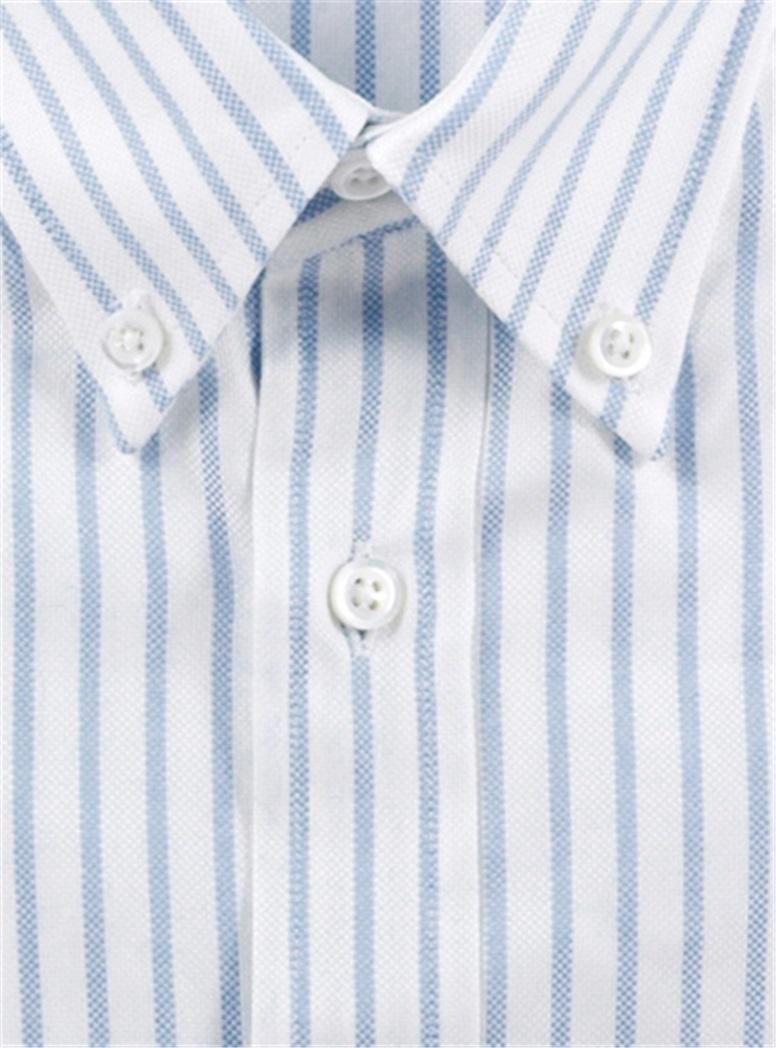 Boys Blue and White University Stripe Shirt