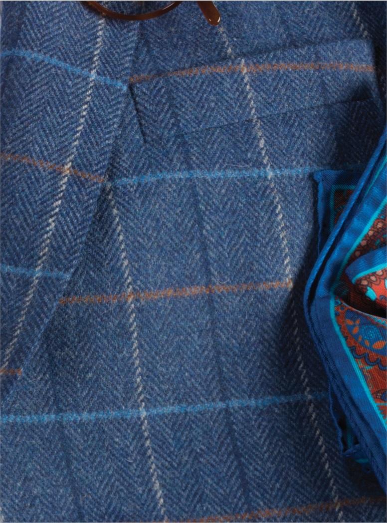 Mid Blue Herringbone Sport Coat with Tattersall