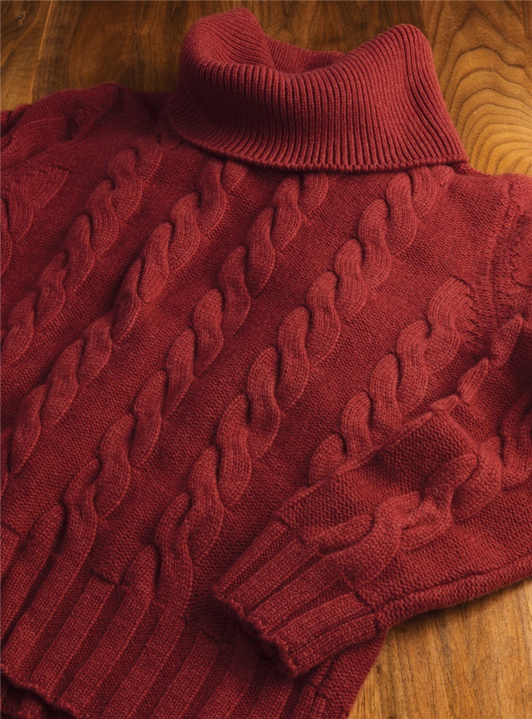 Ladies Cashmere Cowl Neck Sweater in Cranberry