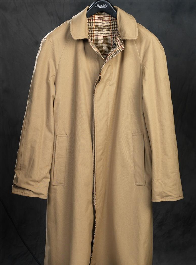 Reversible Glen Plaid Overcoat and Tan Raincoat