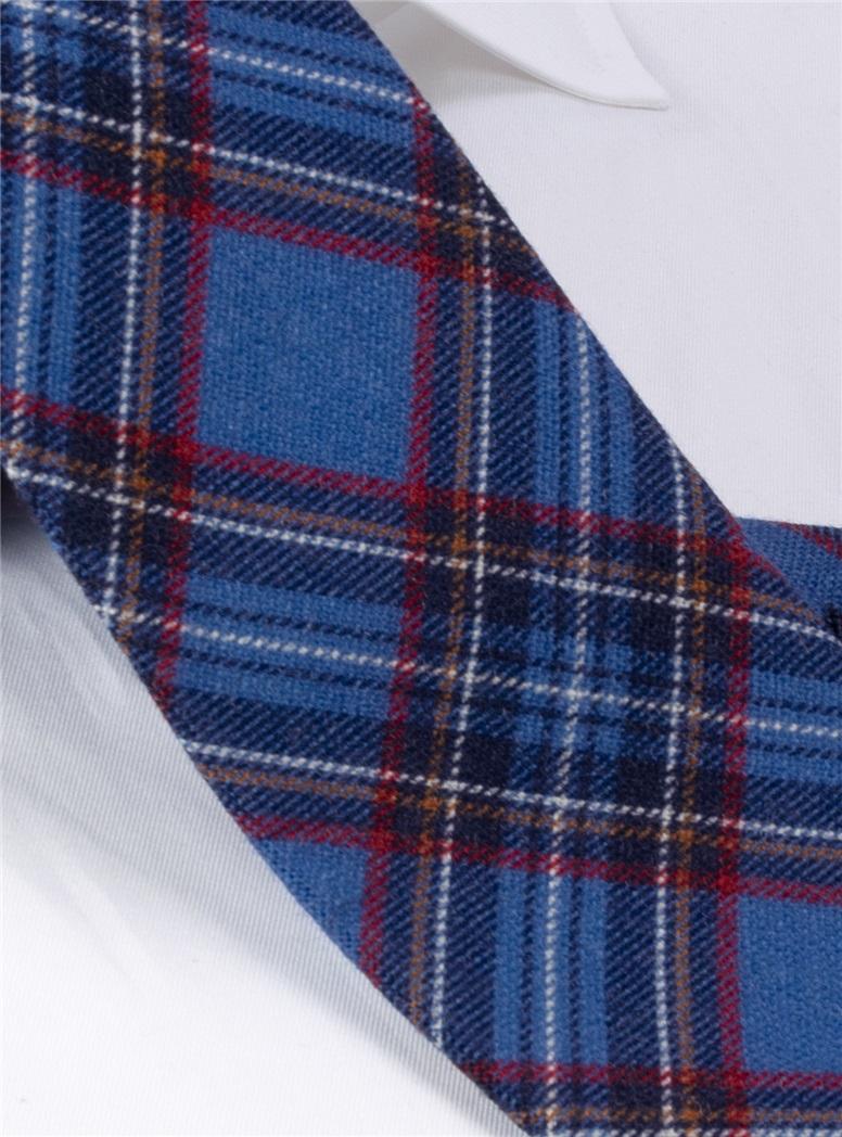 Wool Plaid Printed Tie in Ocean Blue