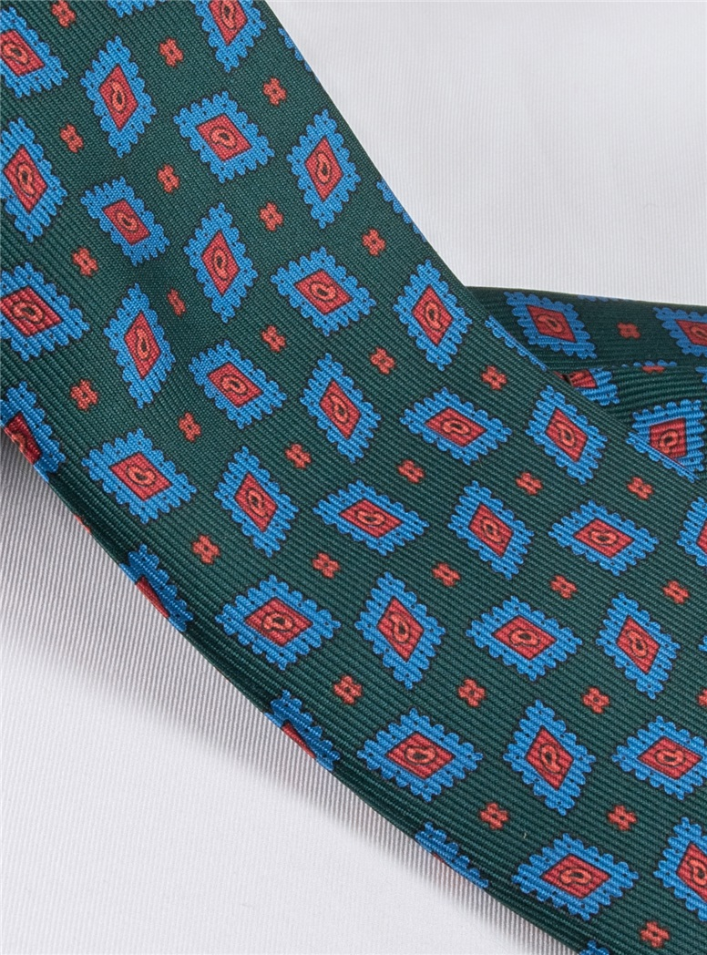 Silk Madder Print Tie with Diamond Motif in Bottle