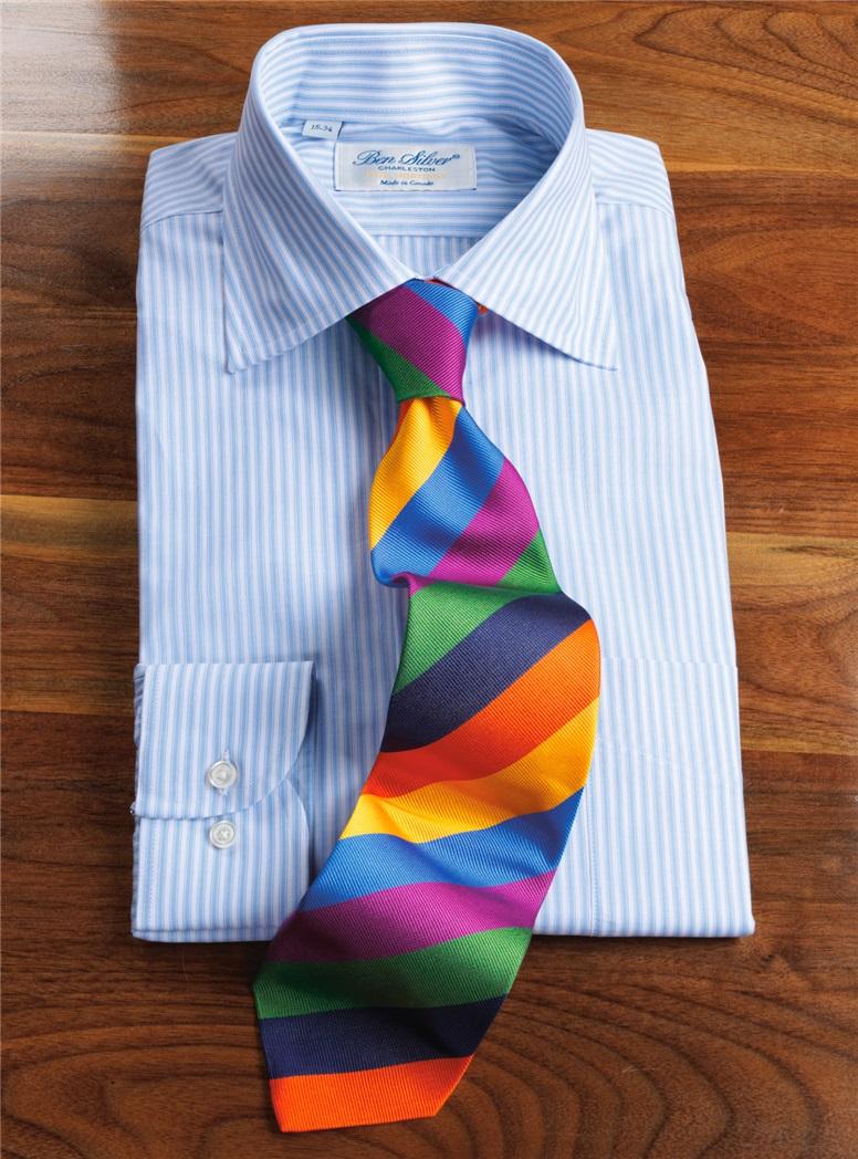 Repp Silk Multi-colored Block Stripe Tie