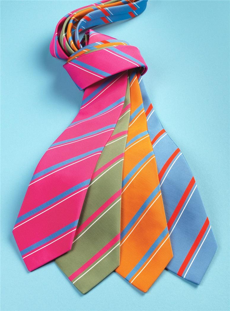 Mogador Silk Striped Tie in Tangerine