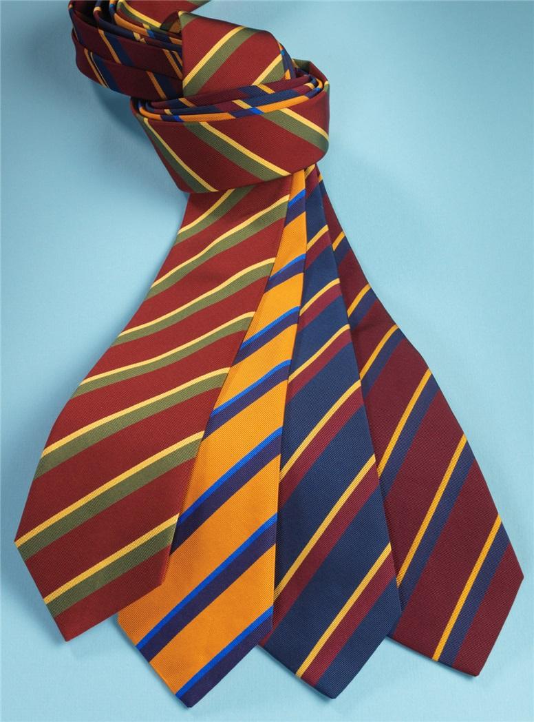 Mogador Silk Double Stripe Tie in Wine