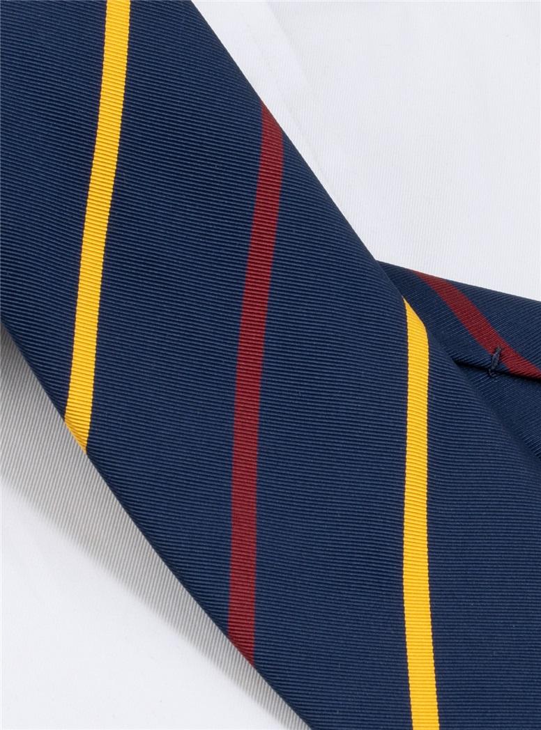 Mogador Double Bar Striped Tie in Navy