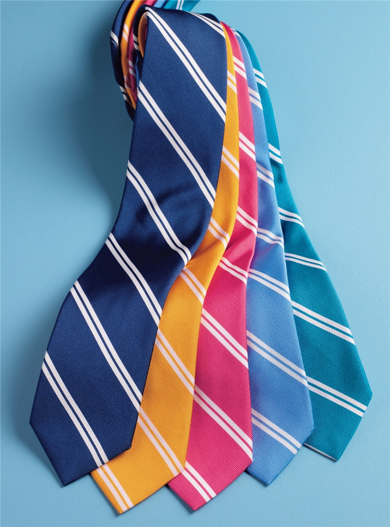 Mogador Silk Double Bar Stripe Tie in Sky