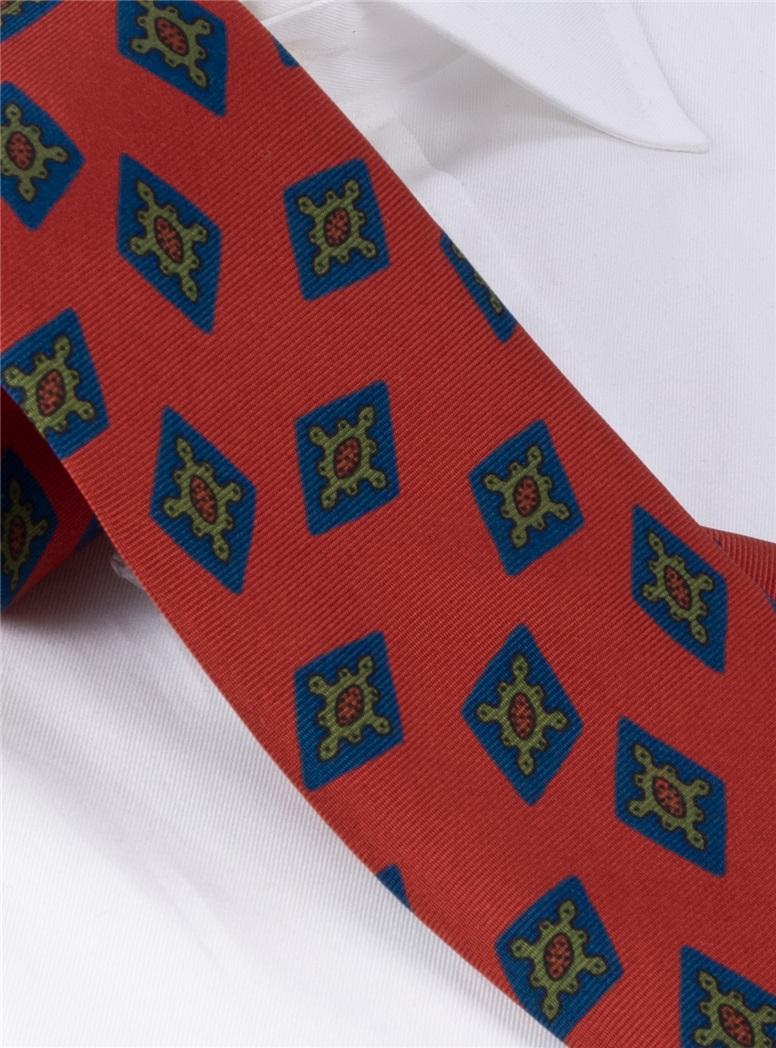 Silk Printed Diamond Motif Tie in Tangerine
