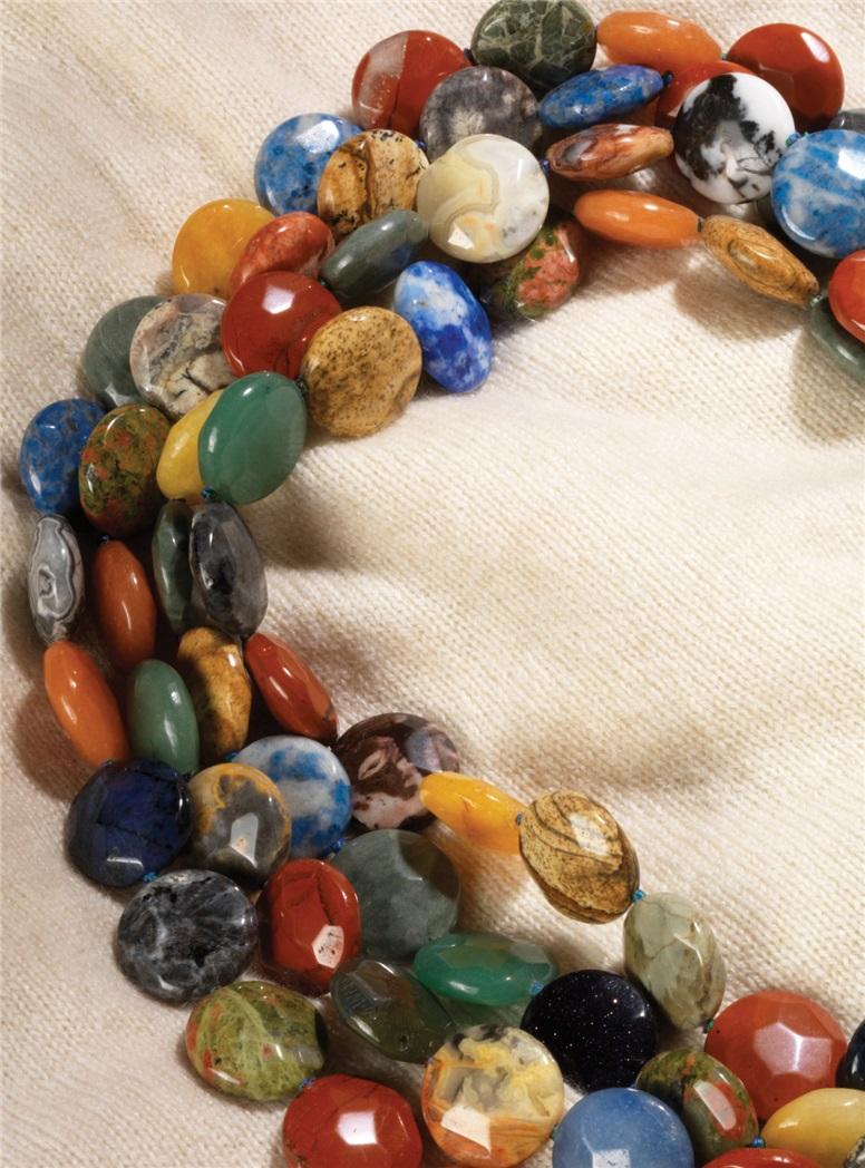 4-Strand Coin Shape Multicolor Semi-Precious Stone Beads